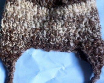 Hand Spun Natural Undyed Baby Dappy Hat 0-6 months Crochet