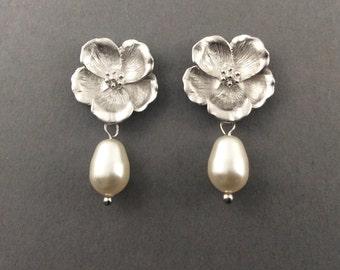 Silver Pearl Earrings Flower Post Earrings With White Swarovski Teardrop Crystal Pearls