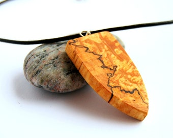 Necklace with wooden shield formed pendant in  with 1 mm leather string.. forest style,jewlery in wood,dangler in wood,earring in wood