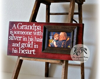 Fathers Day Gift for Grandpa from Grand kids, A Grandpa Is Someone With Silver in His Hair 8x20 The Sugared Plums Frames