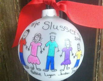 Family Ornament- hand painted christmas ornament