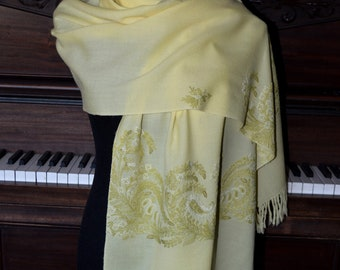 Pastel yellow embroidered cashmere shawl scarf