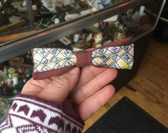 Vintage 60's Clip On BowTie Brown Light  Blue and Cream