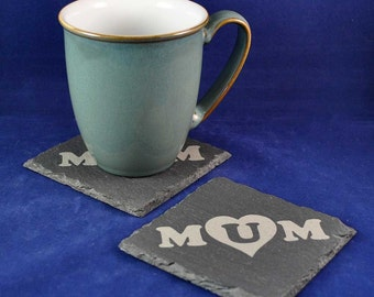 Mum Engraved Rustic Slate Coaster: Ideal Mothers Day, birthday, or Christmas gift