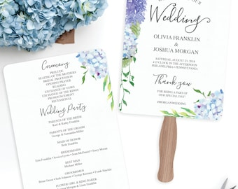Wedding Programs Fan Template Printable - Blue Hydrangea Wedding Program - Printable Fan Program - Fan Program - Instant Download - Wedding