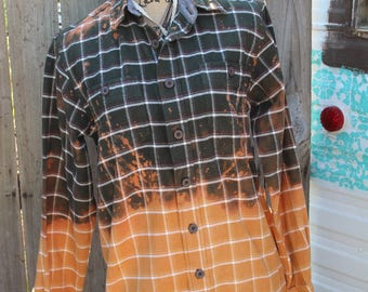 Gold, Orange, and Green Distressed Flannel Shirt, Size Small, Grunge Shirt, Bleached Flannel, Gypsy, Boho, Flannel Shirt, Repurposed FF202