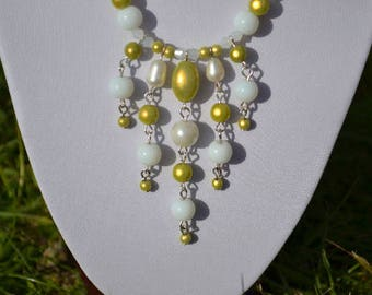 White and lime green necklace