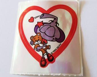 Vtg Snorks Sticker Daffney Teddy Bear iridescent  80's vintage Saturday morning cartoons