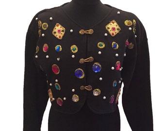 Cropped Black Embellished Cardigan