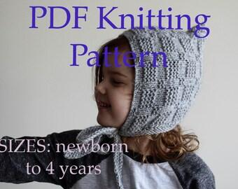 PDF KNITTING PATTERN, baby bonnet pattern, pixie hat pattern, toddler pattern, newborn pattern, easy diy knit bonnet tutorial, diy baby hat