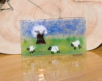 Fused Glass Picture Happy Sheep Meadow Farm Spring Lamb
