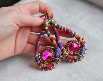 Colorful Tribal Hippie Earrings, Swarovski Crystal Ankara Earrings, Ethnic Earrings, Ethnic Ibiza Earrings, Boho Chic Hoops, Blue Dangles