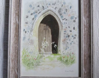 The Old Church Door - Original Framed Watercolour