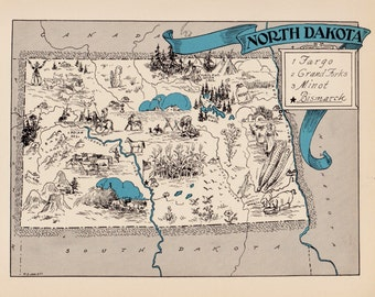 30's Vintage NORTH DAKOTA Picture Map Pictorial State Cartoon Map Print Gallery Wall Art Map Collector Gift for Wedding and Birthday Gift