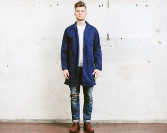 Men Chore Coat . WORK Jacket Vintage Workwear Boro Indigo Blue 80's Distressed Outerwear Artist Mechanic Coat Men Gift . size Medium M