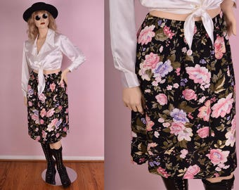 80s Floral Print Skirt/ Large/ 1980s