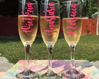Personalized Champagne Glasses | Bridesmaids Gift | Bridal Party Gift | Mothers Day Gift