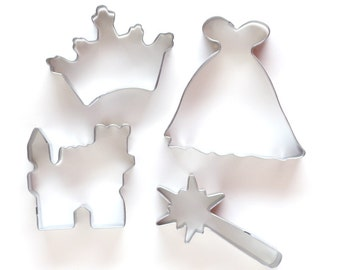 Princess Cookie Cutter Set, Gown, Wand, Crown & Castle Cookie Cutters (Set of 4)