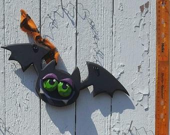 Silly Wooden Halloween Bat Wall Decor