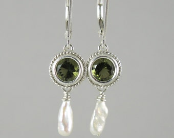 freshwater keshi pearl and faceted Czech moldavite sterling silver lever back earrings 6mm round tektite meteorite