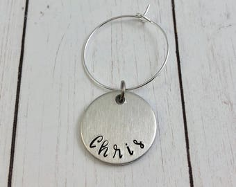 Personalized Wine Charms - Custom Hand Stamped Wine Charms - GNO - Hostess Gift - Party Favors - Wedding Favors - Wine Tasting - kg3258
