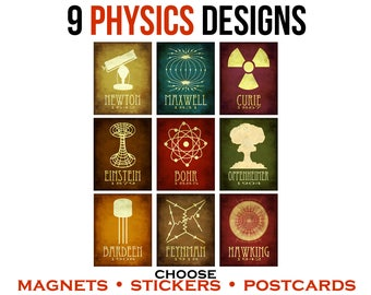 9 Physics Stickers or Postcards or Magnets. Teacher Geek Gift Under 20. Steampunk Rock Star Scientist Art. Physicist History Illustrations.