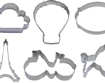 6 Piece French Paris Cookie Cutter Set Eiffel Tower Hot Air Balloon Bicycle Plaque