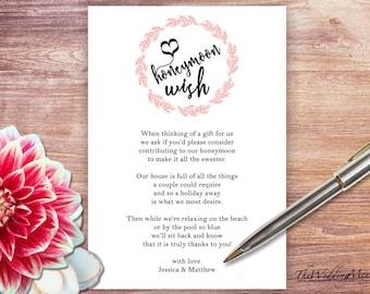 Honeymoon Fund Honeymoon Wish Honeymoon Fundraiser Honeymoon Ideas Printable Asking for Money Template Honeymoon Poem PDF Honeymoon DIY 008