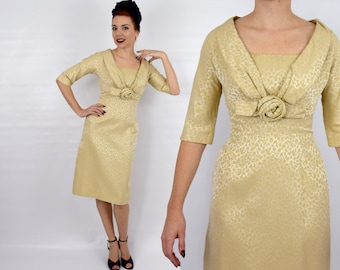 50s Wiggle Dress   Gold Brocade Sheath Dress with Jacket   Annette Gowns   Extra Small