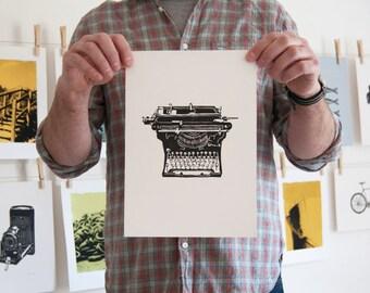 Vintage Typewriter print - linocut print, vintage typewriter, underwood typewriter print