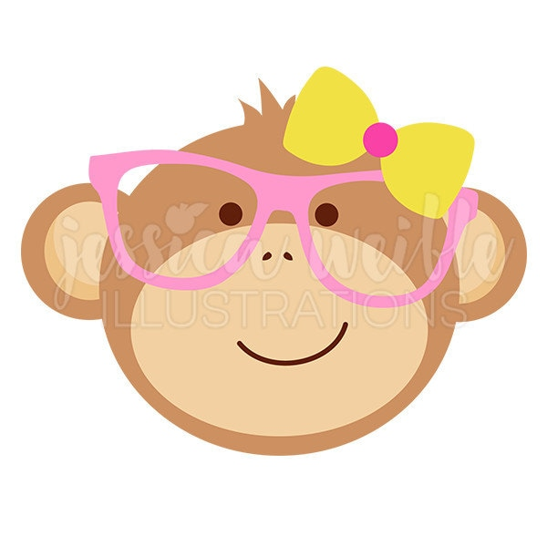 nerdy monkey girl clip art cute digital clipart geek clip rh etsy com cute girl monkey clipart cute monkey clipart free