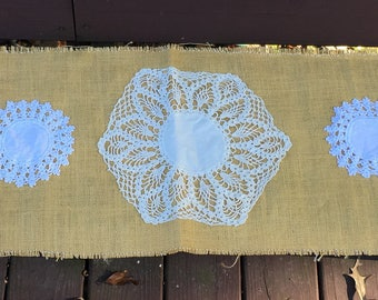 Burlap and Lace, crochet upcycled table runner