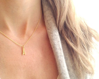 Gold Initial Necklace,  Gold Letter Necklace, Personalized Necklace, 14k Gold Filled,  Initial Charm, Initial Pendant