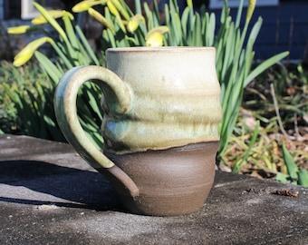 Light White and Green Handmade Stoneware Spiral Mug, 20 oz