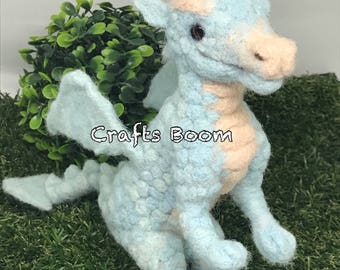 Needle felted Dragon, Fiber Art, Home Decor, Felted Animal, Needle Felting, Soft Sculpture, handmade gift, Interior decor, miniature