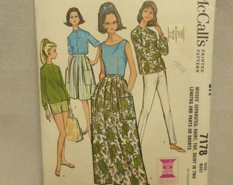 Vintage Mid Century McCall's Pattern 7178 Misses Separates Size 18