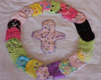 SALE! Single Large Washable Reusable Sanitary Pad - PUL backed with flaps ~ CUSTOMIZE!