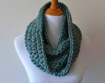 Aqua Blue Crochet Infinity Scarf, Women's Scarf, Handmade Scarf, Eternity Scarf, Crochet Loop Scarf, Circle Scarf, Multicolor, Gift Ideas