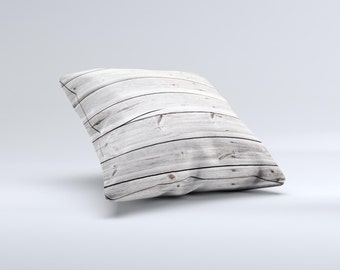 The Aged White Wood Planks ink-Fuzed Decorative Throw Pillow