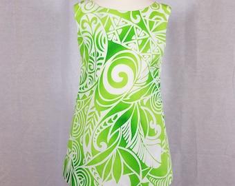 Little Girl Dress - Size 4T - Hawaiian - Muumuu - 100% Cotton - Lime Green & White - Ready to Ship