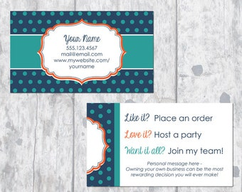 Direct Sales Business Card - Navy Polka Dots