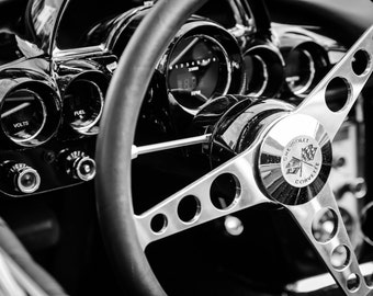Chevy Corvette, Chevy muscle cars, Black white photography, Gift for car lovers, Dorm room wall décor, Wall art for men, Wall décor office