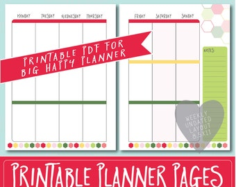 HAPPY PLANNER Printable Weekly Planner Refills / BIG Inserts - 8.5 X 11 | Strawberry | Create 365 | Me & My Big Ideas | mambi | Undated