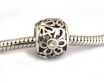 Daisy Flower Open Work Sterling Silver European Bead