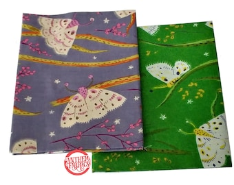 Sleeping Porch by Heather Ross, COTTON LAWN fabric - Moths HR42210 bundle - 2 fat quarters