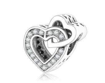925 Sterling Silver Authentic 100% Charms,Sterling Silver Beads,Fit Pandora Bracelet,Pendant,Heart Charm,Family Charm,Love Charm For Gift