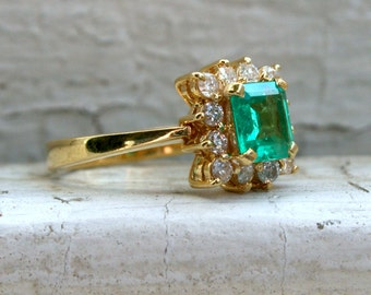 Awesome Vintage 18K Yellow Gold Diamond and Emerald Halo Ring - 1.86ct.