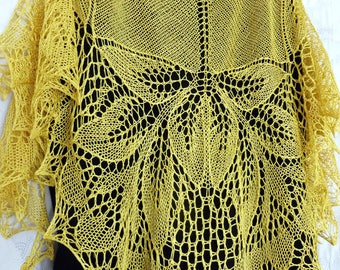 Silk Lace Shawl. Hand Knitted Silk Shawl. Gentiana Lace Knit Stole. Made To Order. Openwork Shawl Wrap Scarf Wedding Shawl