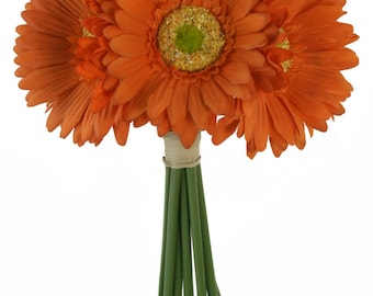 Tangerine Orange Daisy Bouquet - Bridal Wedding Bouquet