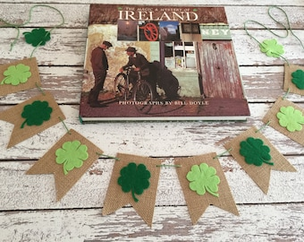 Home decor, St. Patrick's Day banner, St Patrick's Day, four leaf clover garland, lucky four leaf clover banner